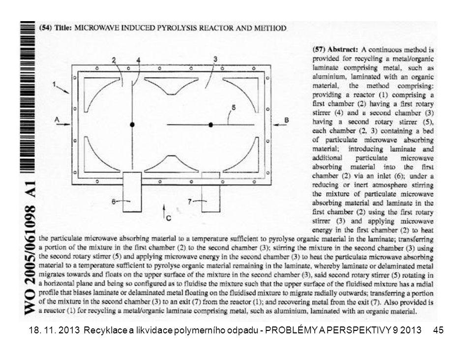 18. 11. 2013Recyklace a likvidace polymerního odpadu - PROBLÉMY A PERSPEKTIVY 9 201345