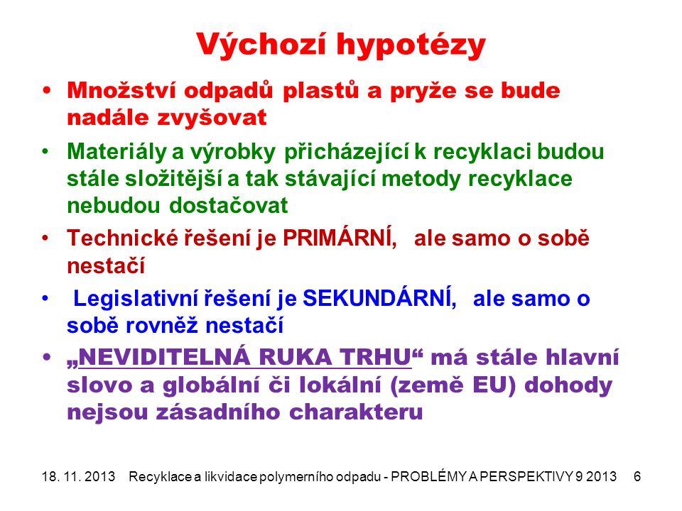 """Výchozí hypotézy Množství odpadů plastů a pryže se bude nadále zvyšovat Materiály a výrobky přicházející k recyklaci budou stále složitější a tak stávající metody recyklace nebudou dostačovat Technické řešení je PRIMÁRNÍ, ale samo o sobě nestačí Legislativní řešení je SEKUNDÁRNÍ, ale samo o sobě rovněž nestačí """"NEVIDITELNÁ RUKA TRHU má stále hlavní slovo a globální či lokální (země EU) dohody nejsou zásadního charakteru 18."""