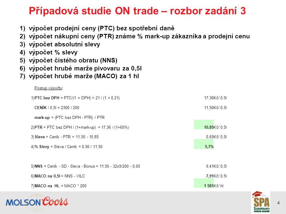 5 Případová studie OFF trade promo – rozbor zadání 5 Postup výpočtu:STANDARDPROMOvážené 1)PTC9,908,909,50Kč/ 0,5l PTC bez DPH = PTC/(1+DPH)8,187,367,85Kč/ 0,5l 2)CENÍK / 0,5l = 1650 / 2008,25 Kč/ 0,5l marže = 1 - (PTR / PTC bez DPH) 3)PTR = (1-marže) x PTC bez DPH6,956,626,82Kč/ 0,5l 4)Sleva = Ceník - PTR1,301,631,43Kč/ 0,5l 5)% Slevy = Sleva / Ceník16%20%17% 6)Bonus = Bonusy x PTR0,560,530,55Kč/ 0,5l 7)NNS = Ceník - SD - Sleva - Bonus4,964,654,84Kč/ 0,5l 8)MACO na 0,5l = NNS - VILC2,852,542,73Kč/ 0,5l 9)MACO na HL = MACO * 200570508545Kč / hl 10)MACO = 10000 x 60% x 570+ 10000 x 40% x 5083 4182 0325 450tis.