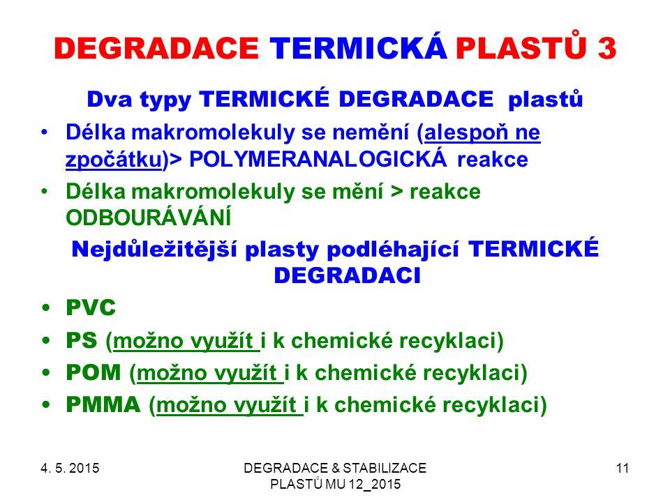 4. 5. 2015DEGRADACE & STABILIZACE PLASTŮ MU 12_2015 11 DEGRADACE TERMICKÁ PLASTŮ 3 Dva typy TERMICKÉ DEGRADACE plastů Délka makromolekuly se nemění (a