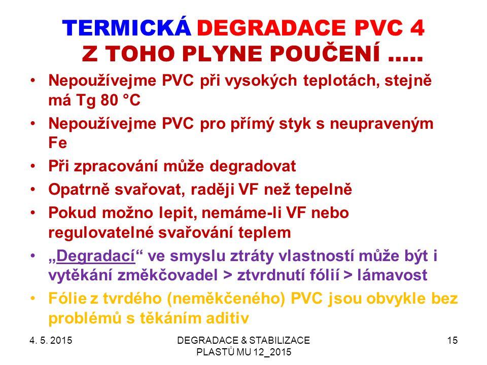 TERMICKÁ DEGRADACE PVC 4 Z TOHO PLYNE POUČENÍ ….. Nepoužívejme PVC při vysokých teplotách, stejně má Tg 80 °C Nepoužívejme PVC pro přímý styk s neupra
