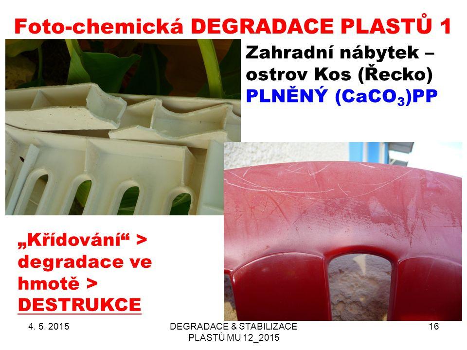"""Foto-chemická DEGRADACE PLASTŮ 1 4. 5. 2015DEGRADACE & STABILIZACE PLASTŮ MU 12_2015 16 Zahradní nábytek – ostrov Kos (Řecko) PLNĚNÝ (CaCO 3 )PP """"Kříd"""
