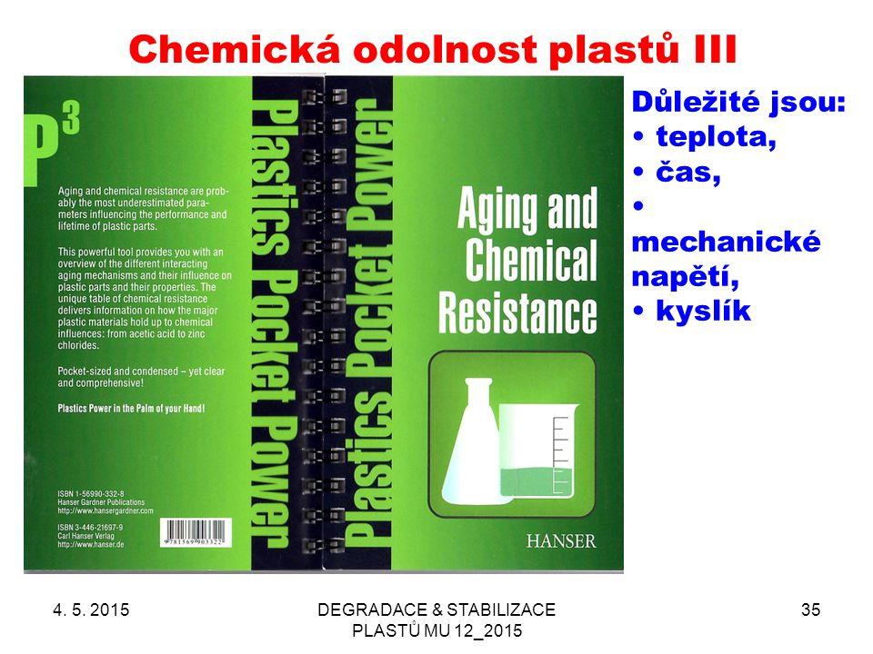 Chemická odolnost plastů III 4. 5. 2015DEGRADACE & STABILIZACE PLASTŮ MU 12_2015 35 Důležité jsou: teplota, čas, mechanické napětí, kyslík