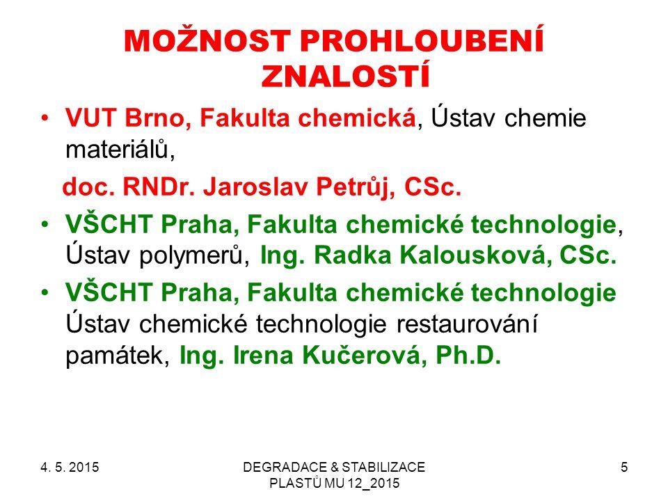 4. 5. 2015DEGRADACE & STABILIZACE PLASTŮ MU 12_2015 5 MOŽNOST PROHLOUBENÍ ZNALOSTÍ VUT Brno, Fakulta chemická, Ústav chemie materiálů, doc. RNDr. Jaro