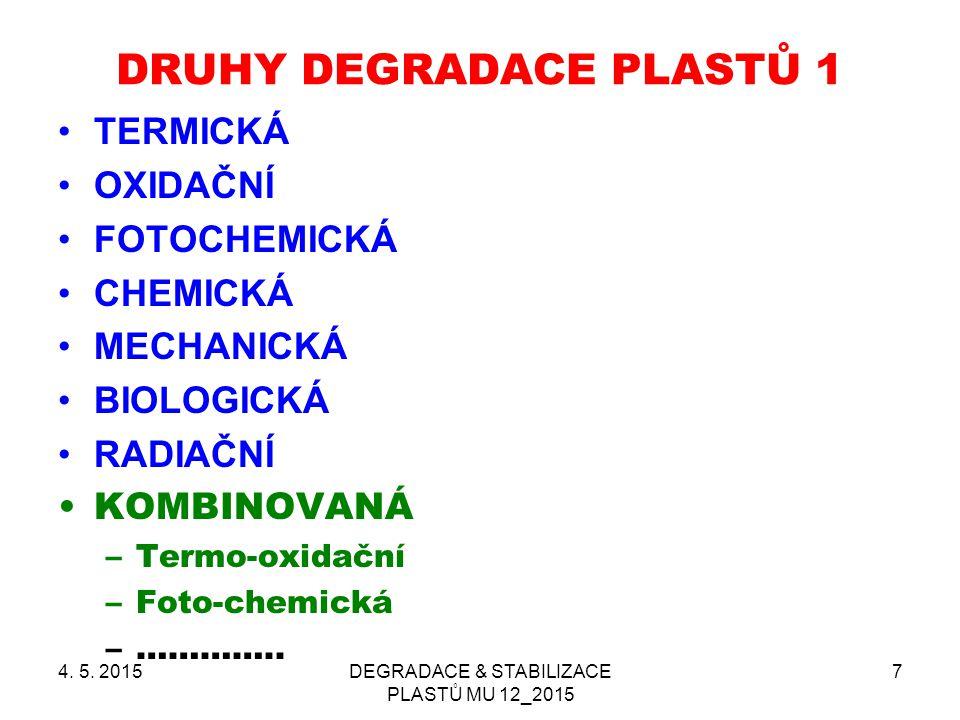 4. 5. 2015DEGRADACE & STABILIZACE PLASTŮ MU 12_2015 7 DRUHY DEGRADACE PLASTŮ 1 TERMICKÁ OXIDAČNÍ FOTOCHEMICKÁ CHEMICKÁ MECHANICKÁ BIOLOGICKÁ RADIAČNÍ
