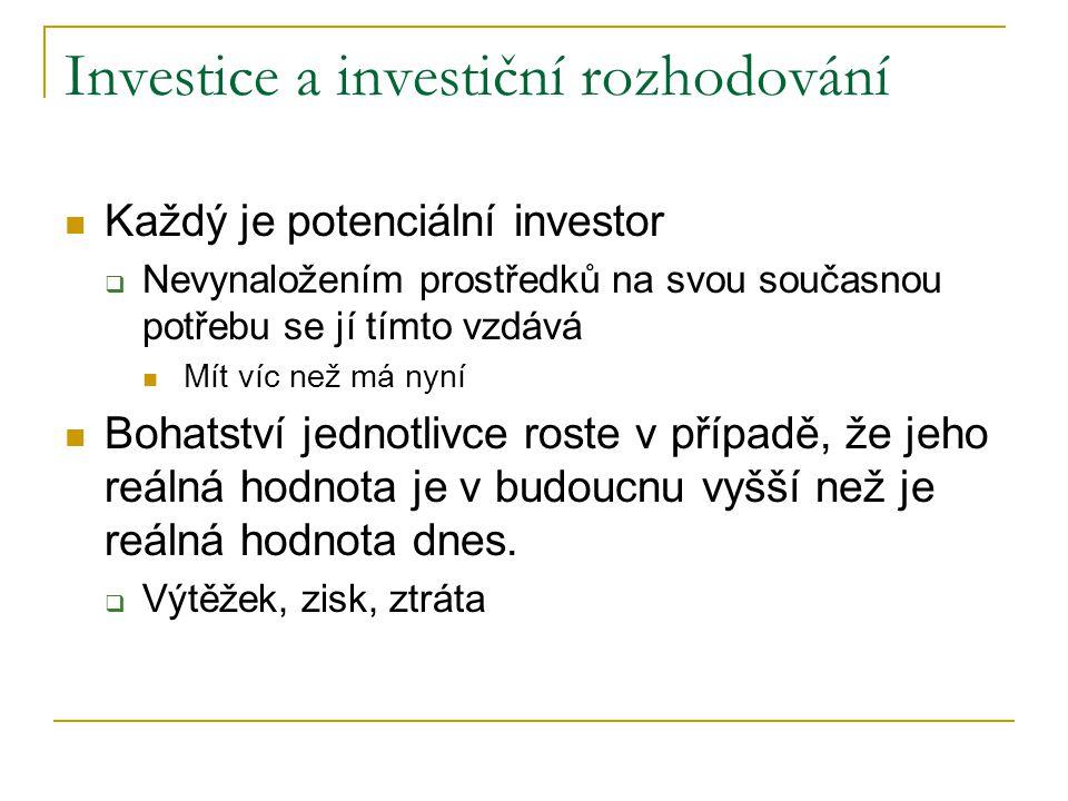 Vztah mezi investičními kritérii Racionální investor  ↓ riziko ↑ výnos ↑ likvidita  Tendence rizika a výnosu pohybovat se stejným směrem