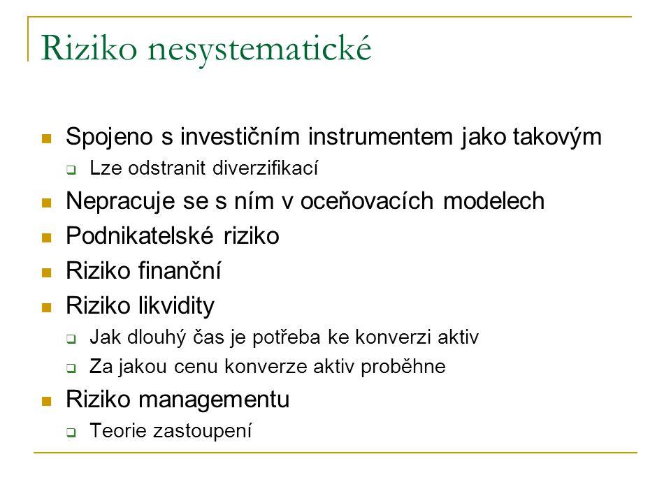 Riziko nesystematické Spojeno s investičním instrumentem jako takovým  Lze odstranit diverzifikací Nepracuje se s ním v oceňovacích modelech Podnikat