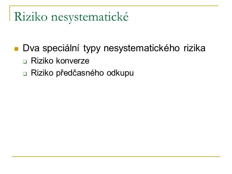 Riziko nesystematické Dva speciální typy nesystematického rizika  Riziko konverze  Riziko předčasného odkupu
