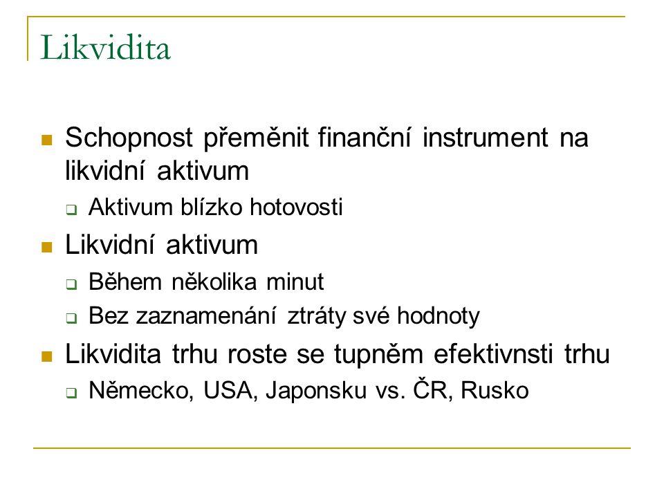 Likvidita Schopnost přeměnit finanční instrument na likvidní aktivum  Aktivum blízko hotovosti Likvidní aktivum  Během několika minut  Bez zaznamen