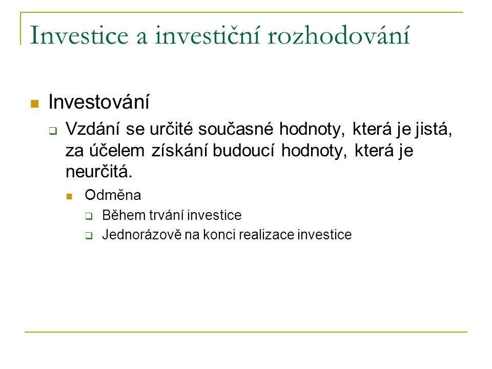 Základní členění investic Investice finanční Investice reálné, tj.