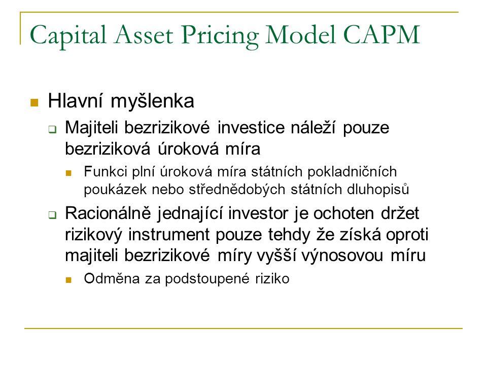 Capital Asset Pricing Model CAPM Hlavní myšlenka  Majiteli bezrizikové investice náleží pouze bezriziková úroková míra Funkci plní úroková míra státn