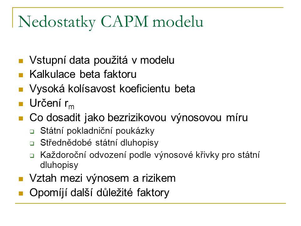 Nedostatky CAPM modelu Vstupní data použitá v modelu Kalkulace beta faktoru Vysoká kolísavost koeficientu beta Určení r m Co dosadit jako bezrizikovou