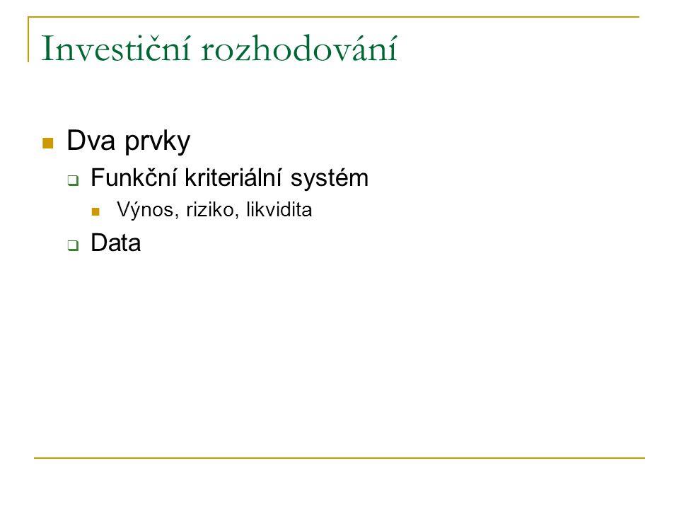 Investiční rozhodování Dva prvky  Funkční kriteriální systém Výnos, riziko, likvidita  Data