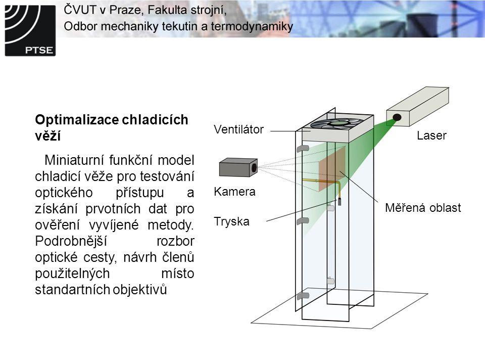 Optimalizace chladicích věží Miniaturní funkční model chladicí věže pro testování optického přístupu a získání prvotních dat pro ověření vyvíjené metody.