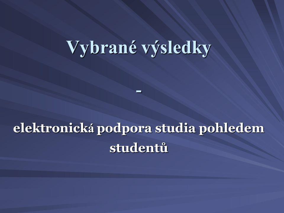 Vybrané výsledky - elektronick á podpora studia pohledem studentů
