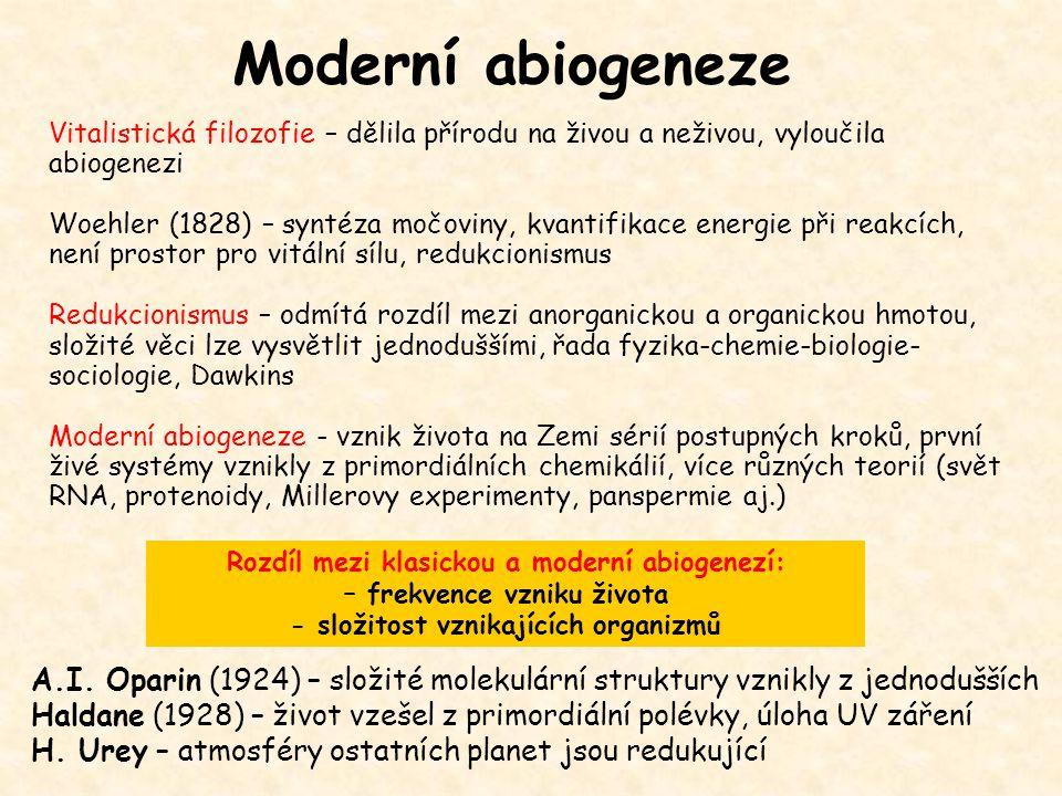 Moderní abiogeneze Vitalistická filozofie – dělila přírodu na živou a neživou, vyloučila abiogenezi Woehler (1828) – syntéza močoviny, kvantifikace en