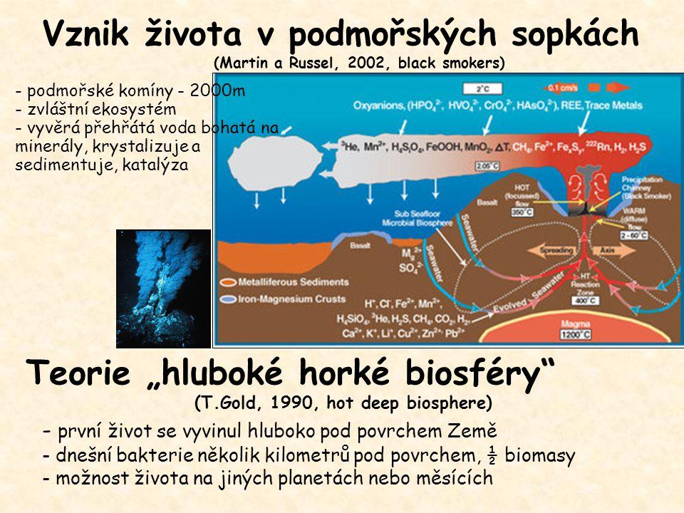 - první život se vyvinul hluboko pod povrchem Země - dnešní bakterie několik kilometrů pod povrchem, ½ biomasy - možnost života na jiných planetách ne