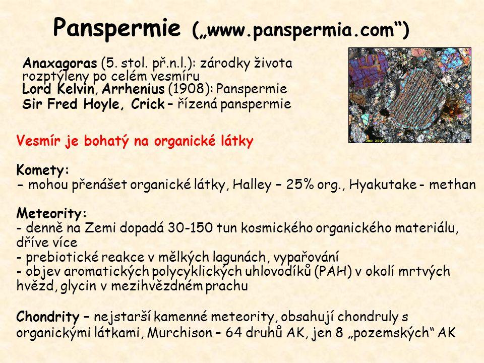 """Panspermie (""""www.panspermia.com"""") Anaxagoras (5. stol. př.n.l.): zárodky života rozptýleny po celém vesmíru Lord Kelvin, Arrhenius (1908): Panspermie"""