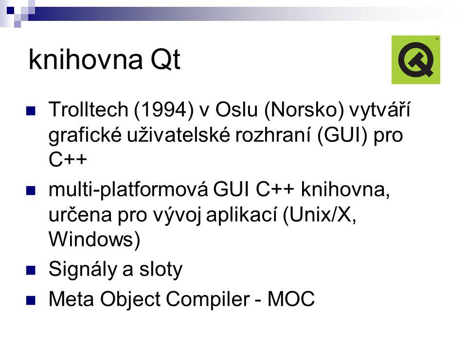 knihovna Qt Trolltech (1994) v Oslu (Norsko) vytváří grafické uživatelské rozhraní (GUI) pro C++ multi-platformová GUI C++ knihovna, určena pro vývoj aplikací (Unix/X, Windows) Signály a sloty Meta Object Compiler - MOC