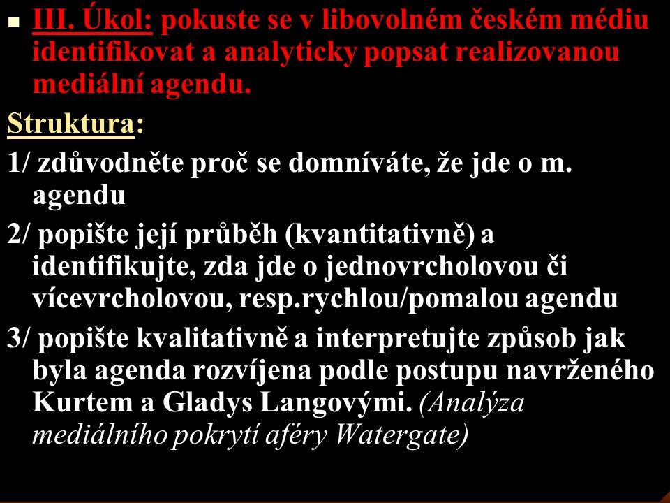 III. Úkol: pokuste se v libovolném českém médiu identifikovat a analyticky popsat realizovanou mediální agendu. Struktura: 1/ zdůvodněte proč se domní