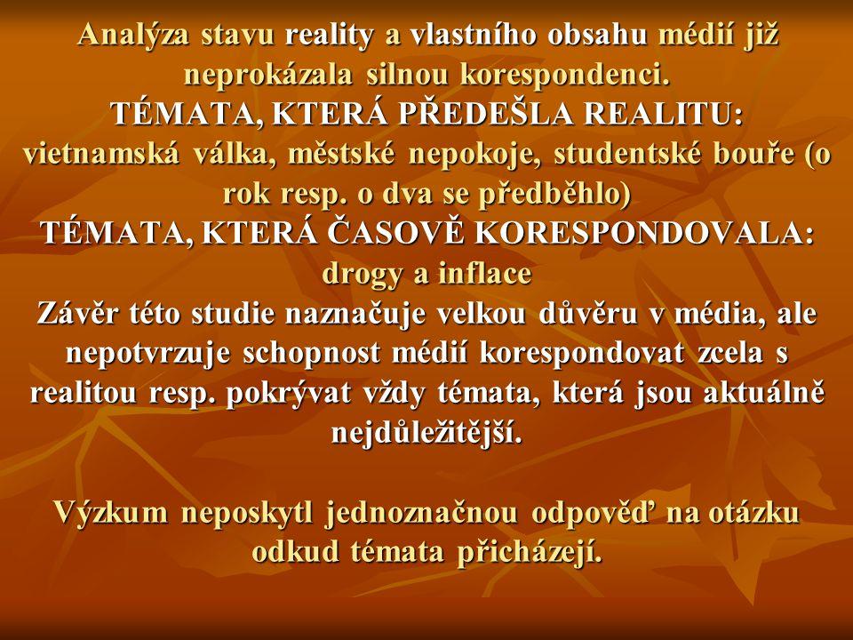Analýza stavu reality a vlastního obsahu médií již neprokázala silnou korespondenci.
