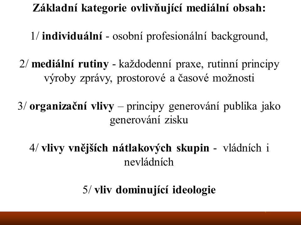 Základní kategorie ovlivňující mediální obsah: 1/ individuální - osobní profesionální background, 2/ mediální rutiny - každodenní praxe, rutinní principy výroby zprávy, prostorové a časové možnosti 3/ organizační vlivy – principy generování publika jako generování zisku 4/ vlivy vnějších nátlakových skupin - vládních i nevládních 5/ vliv dominující ideologie