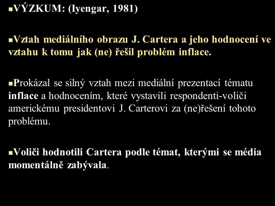 VÝZKUM: (Iyengar, 1981) Vztah mediálního obrazu J. Cartera a jeho hodnocení ve vztahu k tomu jak (ne) řešil problém inflace. Prokázal se silný vztah m