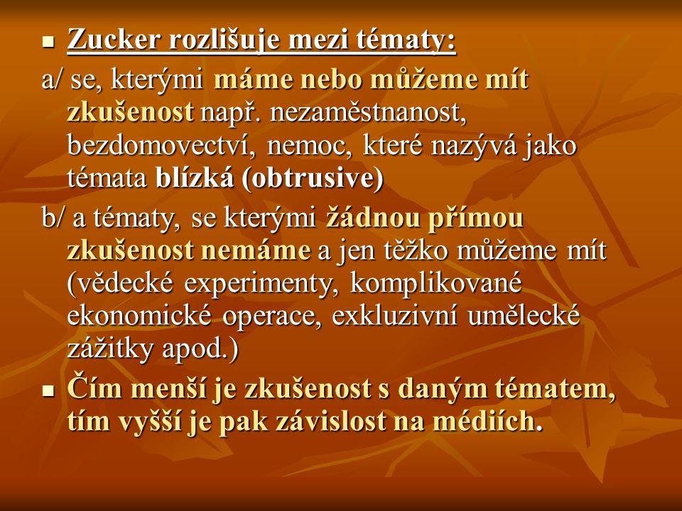 Zucker rozlišuje mezi tématy: Zucker rozlišuje mezi tématy: a/ se, kterými máme nebo můžeme mít zkušenost např. nezaměstnanost, bezdomovectví, nemoc,