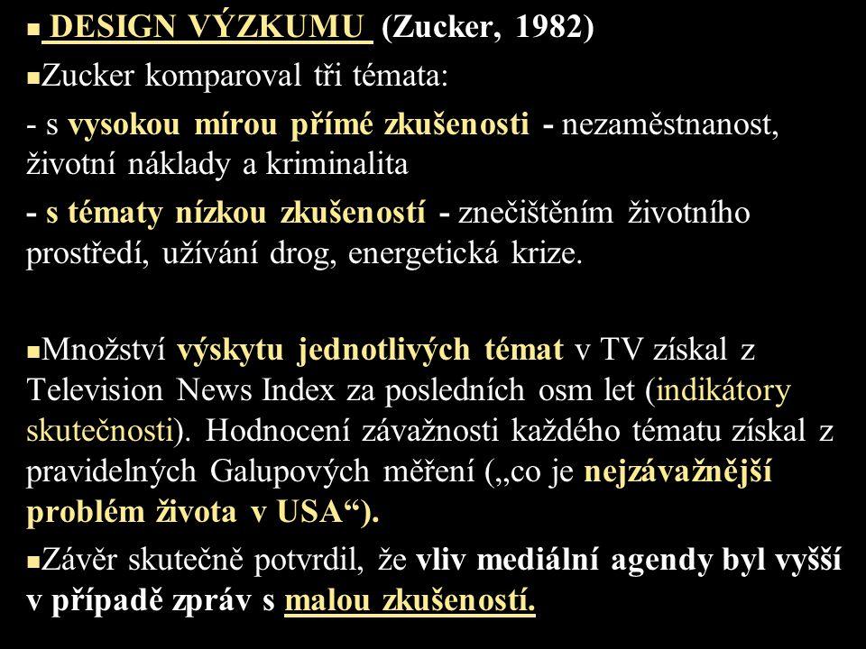DESIGN VÝZKUMU (Zucker, 1982) Zucker komparoval tři témata: - s vysokou mírou přímé zkušenosti - nezaměstnanost, životní náklady a kriminalita - s tématy nízkou zkušeností - znečištěním životního prostředí, užívání drog, energetická krize.