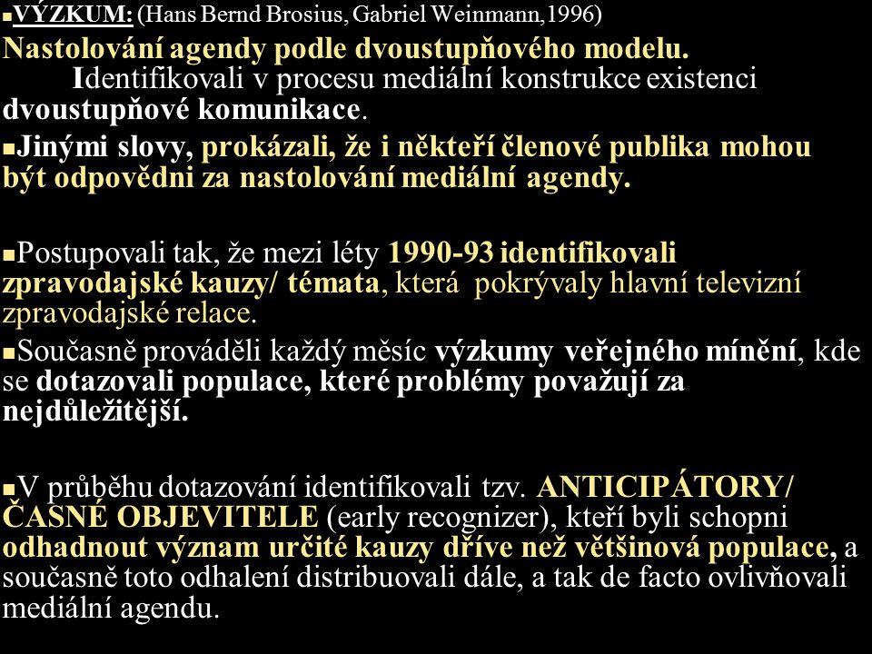 VÝZKUM: (Hans Bernd Brosius, Gabriel Weinmann,1996) Nastolování agendy podle dvoustupňového modelu.