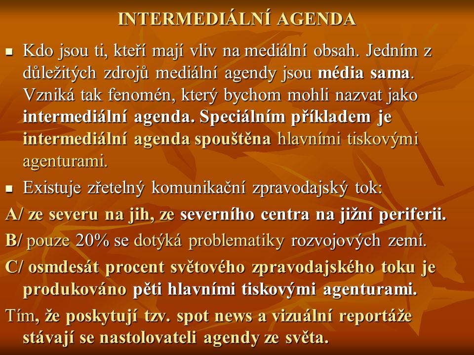 INTERMEDIÁLNÍ AGENDA Kdo jsou ti, kteří mají vliv na mediální obsah.