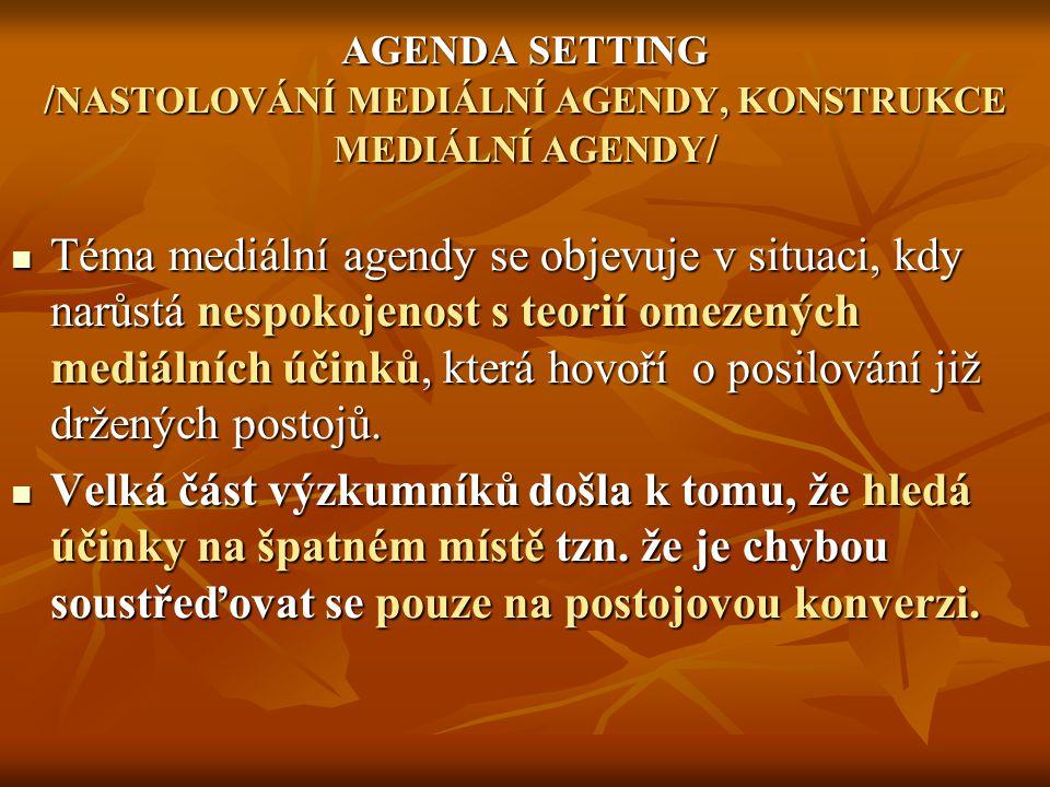 AGENDA SETTING / NASTOLOVÁNÍ MEDIÁLNÍ AGENDY, KONSTRUKCE MEDIÁLNÍ AGENDY / Téma mediální agendy se objevuje v situaci, kdy narůstá nespokojenost s teorií omezených mediálních účinků, která hovoří o posilování již držených postojů.