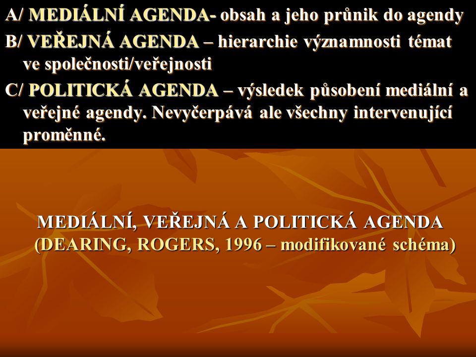 MEDIÁLNÍ, VEŘEJNÁ A POLITICKÁ AGENDA (DEARING, ROGERS, 1996 – modifikované schéma) MEDIÁLNÍ, VEŘEJNÁ A POLITICKÁ AGENDA (DEARING, ROGERS, 1996 – modif