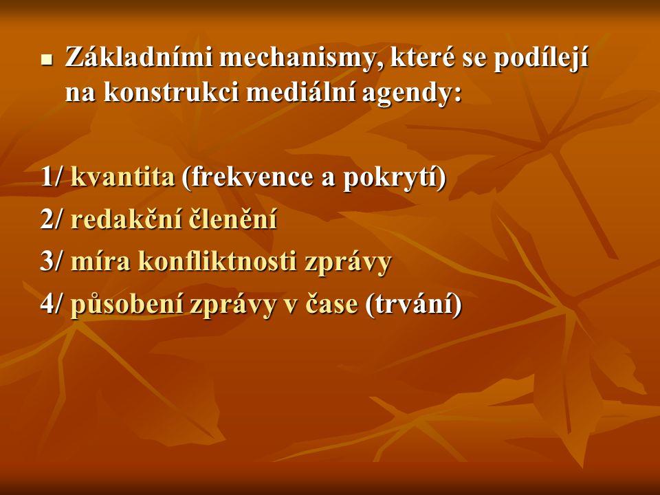 Základními mechanismy, které se podílejí na konstrukci mediální agendy: Základními mechanismy, které se podílejí na konstrukci mediální agendy: 1/ kvantita (frekvence a pokrytí) 2/ redakční členění 3/ míra konfliktnosti zprávy 4/ působení zprávy v čase (trvání)
