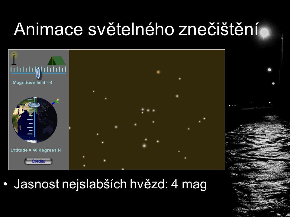 Animace světelného znečištění Jasnost nejslabších hvězd: 4 mag