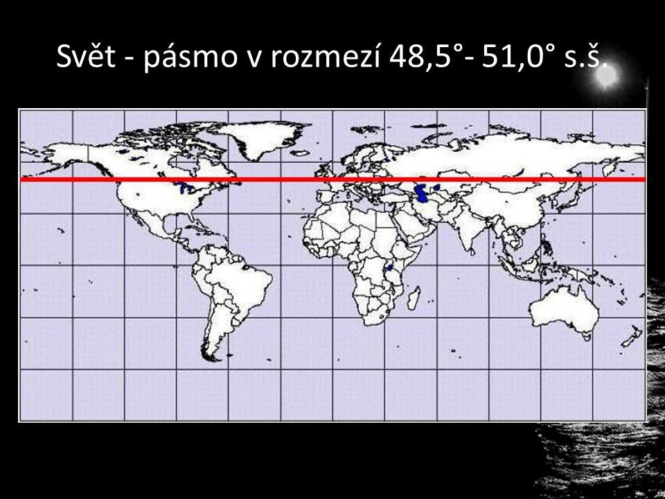 Svět - pásmo v rozmezí 48,5°- 51,0° s.š.