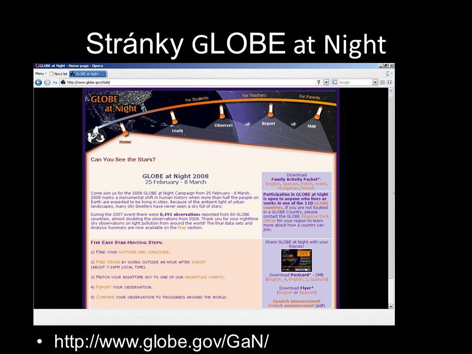 Stránky G LOBE at Night http://www.globe.gov/GaN/