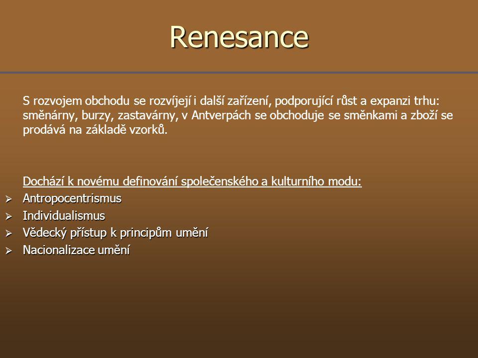 Renesance S rozvojem obchodu se rozvíjejí i další zařízení, podporující růst a expanzi trhu: směnárny, burzy, zastavárny, v Antverpách se obchoduje se