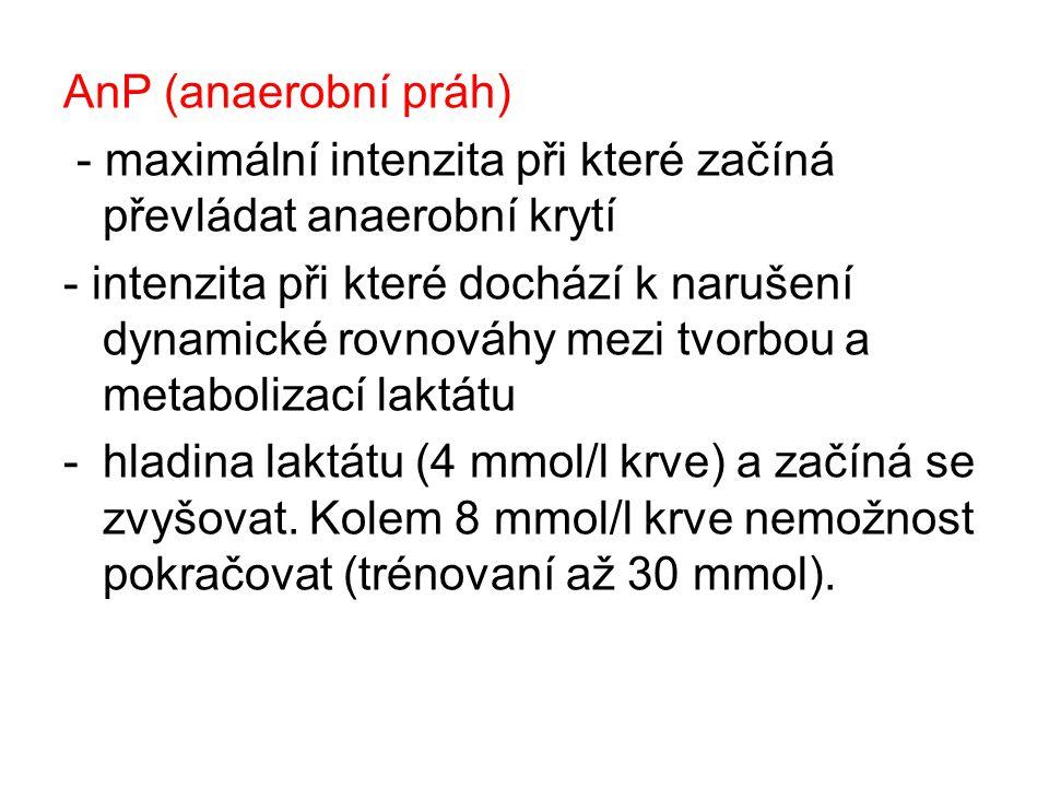 AnP (anaerobní práh) - maximální intenzita při které začíná převládat anaerobní krytí - intenzita při které dochází k narušení dynamické rovnováhy mez