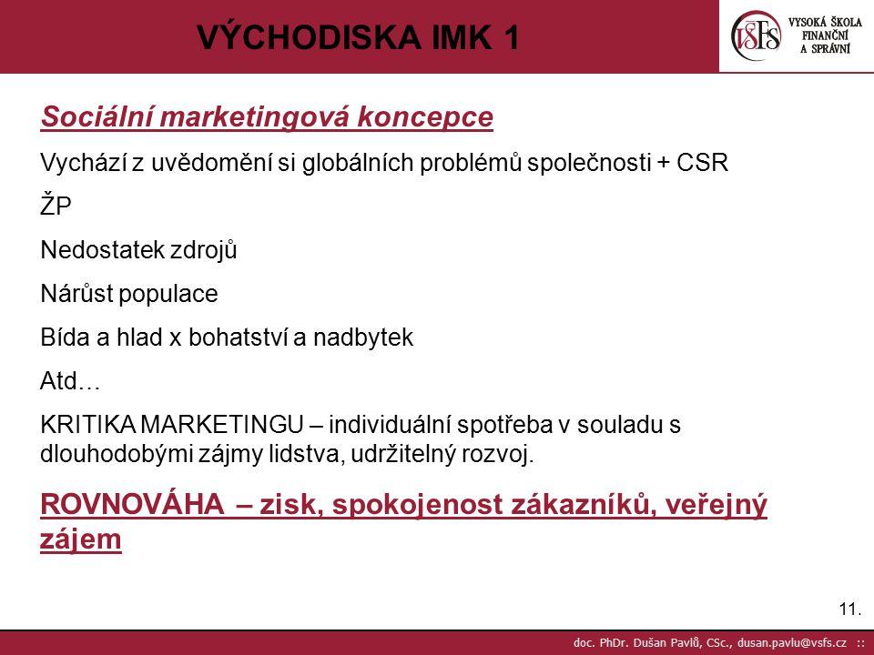 11. doc. PhDr. Dušan Pavlů, CSc., dusan.pavlu@vsfs.cz :: VÝCHODISKA IMK 1 Sociální marketingová koncepce Vychází z uvědomění si globálních problémů sp