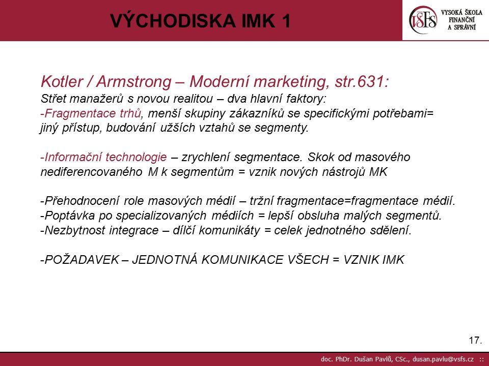 17. doc. PhDr. Dušan Pavlů, CSc., dusan.pavlu@vsfs.cz :: VÝCHODISKA IMK 1 Kotler / Armstrong – Moderní marketing, str.631: Střet manažerů s novou real