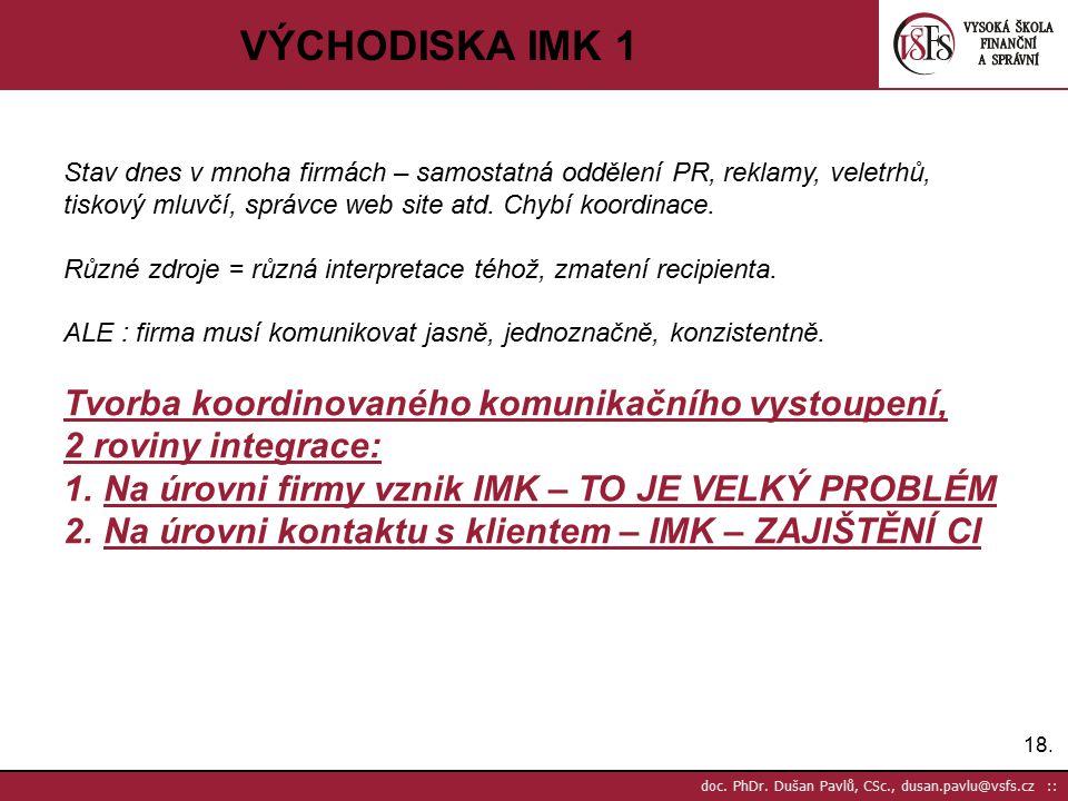 18. doc. PhDr. Dušan Pavlů, CSc., dusan.pavlu@vsfs.cz :: VÝCHODISKA IMK 1 Stav dnes v mnoha firmách – samostatná oddělení PR, reklamy, veletrhů, tisko
