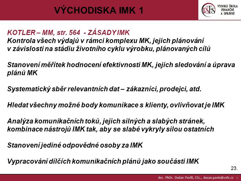 23. doc. PhDr. Dušan Pavlů, CSc., dusan.pavlu@vsfs.cz :: VÝCHODISKA IMK 1 KOTLER – MM, str. 564 - ZÁSADY IMK Kontrola všech výdajů v rámci komplexu MK