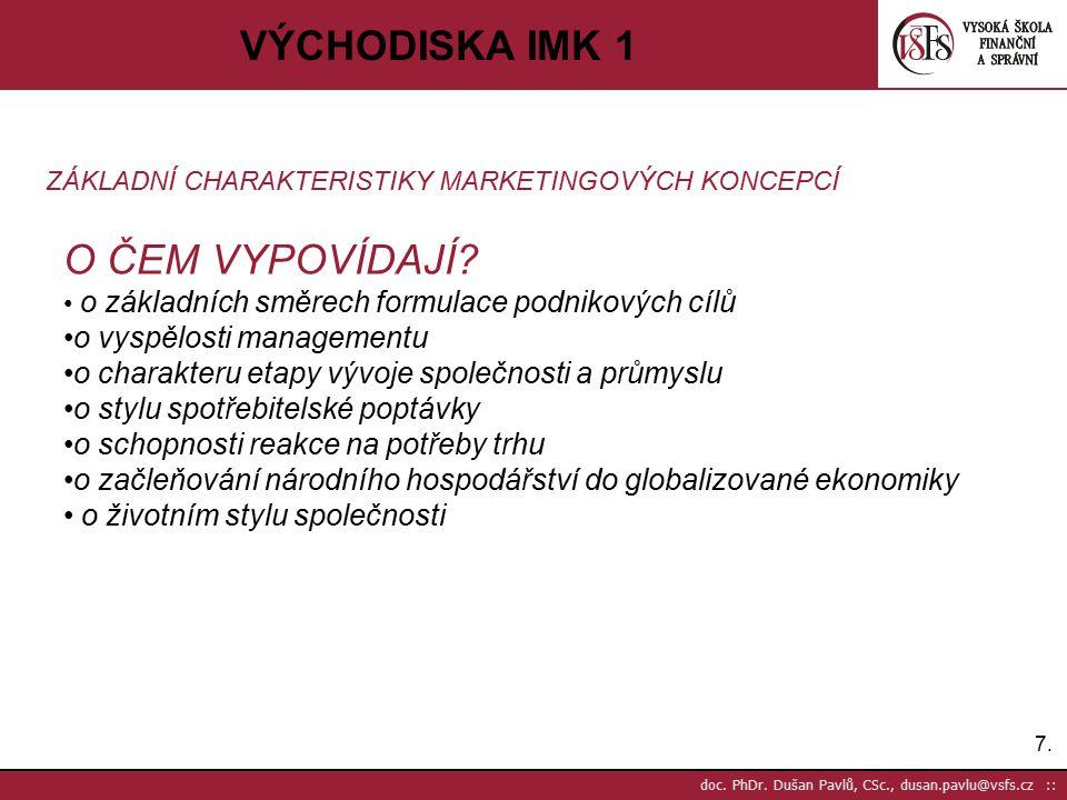 7.7. doc. PhDr. Dušan Pavlů, CSc., dusan.pavlu@vsfs.cz :: VÝCHODISKA IMK 1 ZÁKLADNÍ CHARAKTERISTIKY MARKETINGOVÝCH KONCEPCÍ O ČEM VYPOVÍDAJÍ? o základ