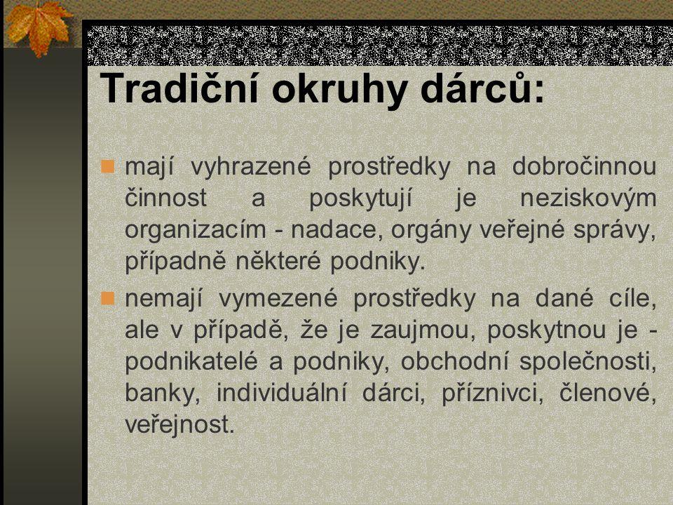 Tradiční okruhy dárců: mají vyhrazené prostředky na dobročinnou činnost a poskytují je neziskovým organizacím - nadace, orgány veřejné správy, případně některé podniky.