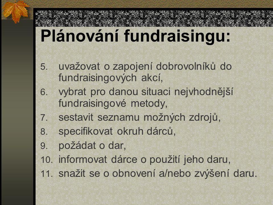 Plánování fundraisingu: 5. uvažovat o zapojení dobrovolníků do fundraisingových akcí, 6.