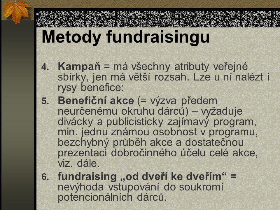 Metody fundraisingu 4. Kampaň = má všechny atributy veřejné sbírky, jen má větší rozsah.