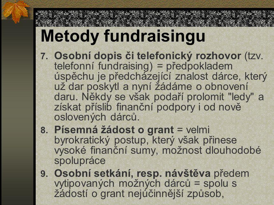Metody fundraisingu 7. Osobní dopis či telefonický rozhovor (tzv.