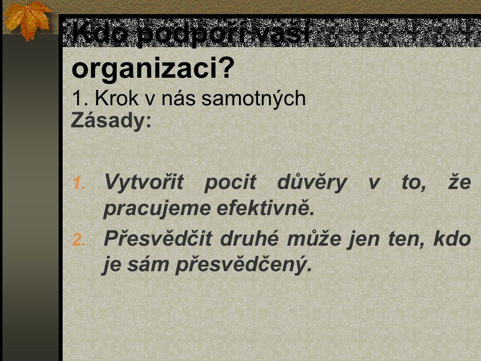 Kdo podpoří vaší organizaci. 1. Krok v nás samotných Zásady: 1.