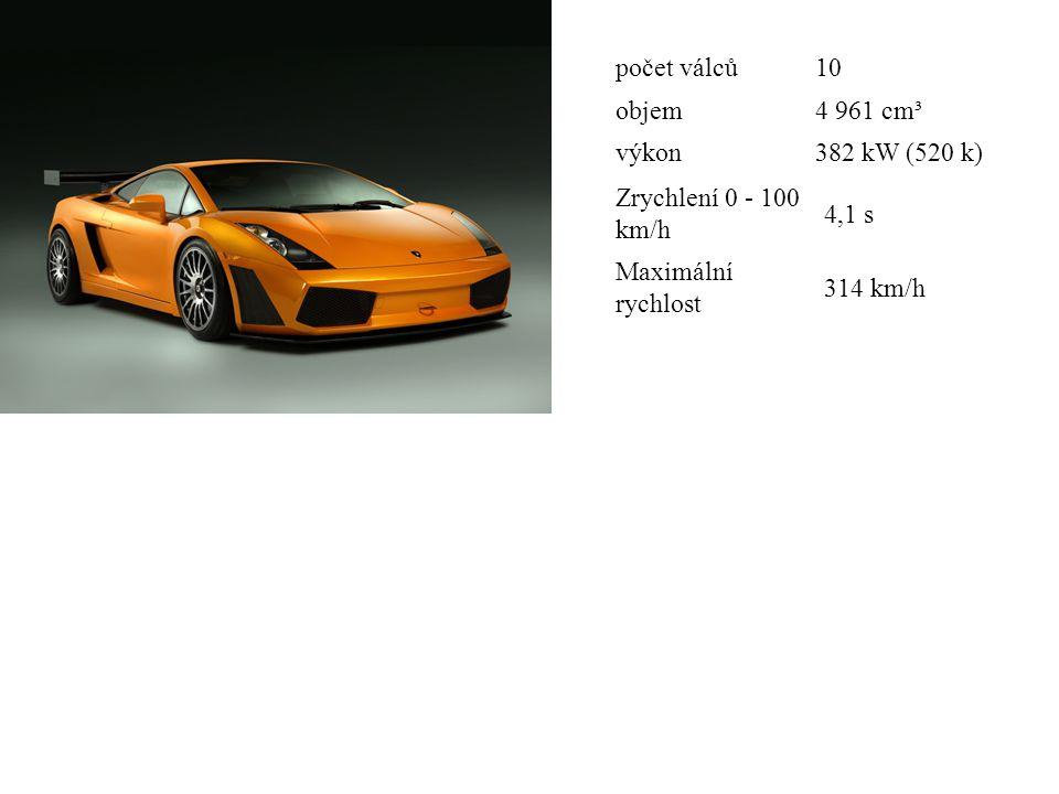 počet válců10 objem4 961 cm³ výkon382 kW (520 k) Zrychlení 0 - 100 km/h 4,1 s Maximální rychlost 314 km/h